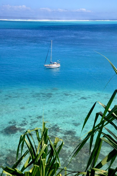Bild: Moya and the outer reef of Huahine