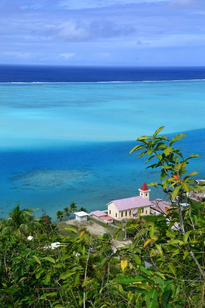 Bild: View on Maupiti outer reef and Tiriano